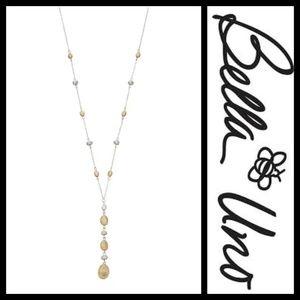 Bella Uno Beaded Two Tone Drop Necklace NWT